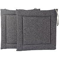 Sinland 座布団 いす用 シートクッション ひも付き 綿麻 椅子用クッション 2枚組 グレー
