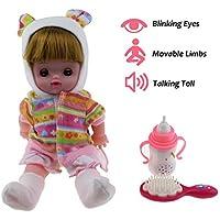 Tipmantかわいい幼児の赤ちゃんの人形、目を点滅させる、可動腕と脚、シミュレーション音、子供のおもちゃギフト (ピンク)