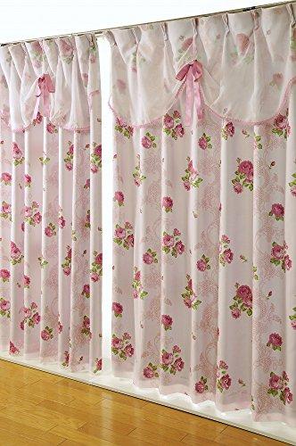 フリル上飾り付き 遮光裏地付きカーテン 2枚セット (幅100cm X 丈200cm 2枚入り, ピンク)