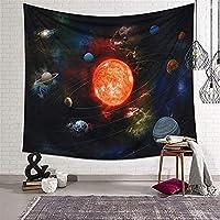 SHYPwM サイケデリックタペストリー太陽系惑星壁マウント太陽木星地球スターギャラクシースペースタペストリーホームデコレーションウォールアート (Color : A, Size : 148*200cm)