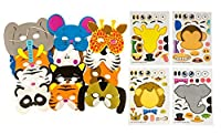 48 Piece Animal Sticker & Foam Mask Set: 24 Make-A-Zoo Sticker Sheets & 24 Assorted Form Animal Masks Value Party Favor Set - Great For A Zoo And Safari Theme Birthday Party - M & M Products Online [並行輸入品]