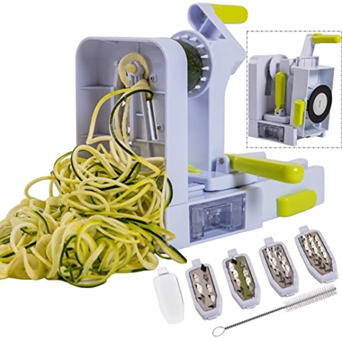 軌道ガロン粒Brieftons QuickFold 5-Blade Spiralizer: 2018 Model, Versatile & Compact Foldable Vegetable Spiral Slicer, Best Veggie Pasta Spaghetti Maker for Low Carb/Paleo/Gluten-Free with Brush & 3 Recipe Ebooks