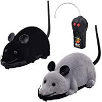 Eugreat 2 Pcs Funny Wireless Remote Control Mouse Toy Black and Grey for Cats Dogs Pets Kids