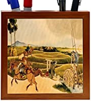 Rikki Knight Katsushika Hokusai Art Samurai Riding on Horses Design 5-Inch Wooden Tile Pen Holder (RK-PH3253) [並行輸入品]
