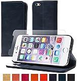 【steady advance】 最高級 本革 ( 牛革 ) iPhone6 / iPhone6s 手帳型 ケース 【 硬度 9H 液晶保護 強化 ガラスフィルム 】 セット スマートフォン カバー マグネット式 カード ポケット 付 スタンド 機能 (iPhone6 / 6s, ミラニーズブルー)