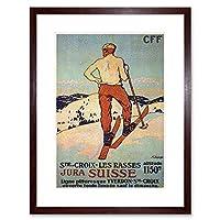 Travel Winter Sport Skiing Races St Croix Switzerland Framed Wall Art Print