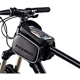 """RockBros Bike Bag Phone Waterproof Top Tube Bag Front Frame Mountain Bicycle Touch Screen Cell Phone Holder Pouch Compatible with iPhone X, 8 Plus 7 Below 5.8"""" & 6.2"""""""