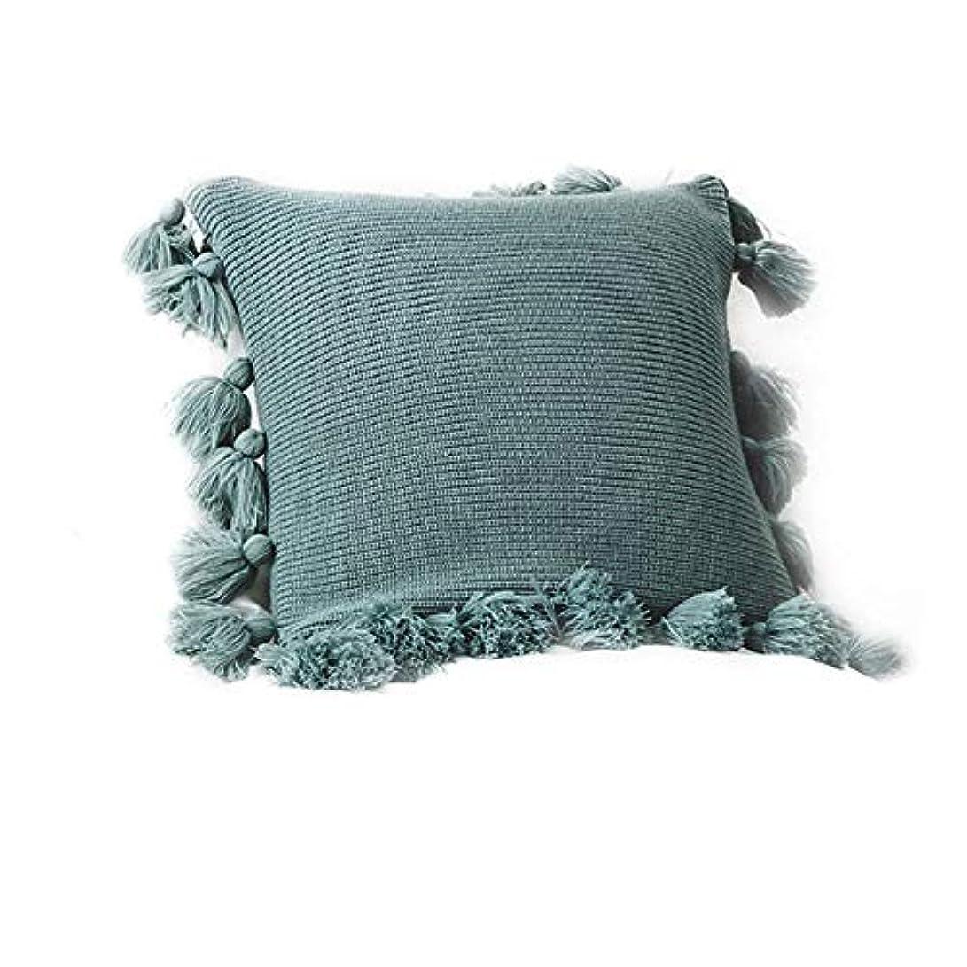 団結異議頬骨手織りの装飾的な正方形の暖かい枕、ホームソファソファの装飾的な枕、17 `` * 17 '',グリーン