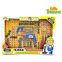Tool Set toy with functioning Press drill with guide, hand-saw, level, pliers, screwdriver, wrench, stencils, work-bench, wooden pieces, hammer, gauge, nuts, bolts, and screws -play set for kids 3+ [並行輸入品]