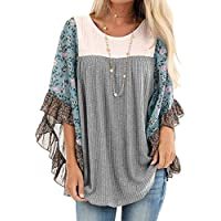 casuress Womens Floral Printed 3 4 Sleeve Shirt Batwing Loose Tops Blouses Pollover