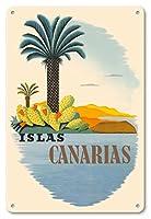 22cm x 30cmヴィンテージハワイアンティンサイン - カナリア諸島 - ヤシの木とサボテン - ビンテージな世界旅行のポスター c.1950s