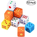 NUOLUX Pencil Erasers Rubber Dice Kid Party Favor Gift Toy Assorted Color 12 Pieces