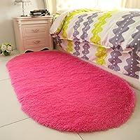 ベッドサイドカーペットオーバルソフト敷物モダンミニマリストカーペットリビングルームソファ敷物 (Color : PURPLE, Size : 80*160CM)