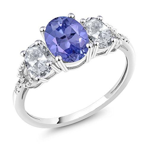 Gem Stone King 2.21カラット 天然石 タンザナイト 指輪 リング レディース 天然 トパーズ (無色透明) 天然 ダイヤモンド 10金 ホワイトゴールド(K10)