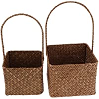 Baosity 籐製 収納バスケット 雑貨 食品容器 オーガナイザー ボックス 耐久性 2個/セット 全2セット選べる    - セット1