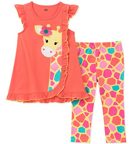 Kids Headquarters Baby Girls Tunic Set-Capsleeves, Coral/Print, 12M