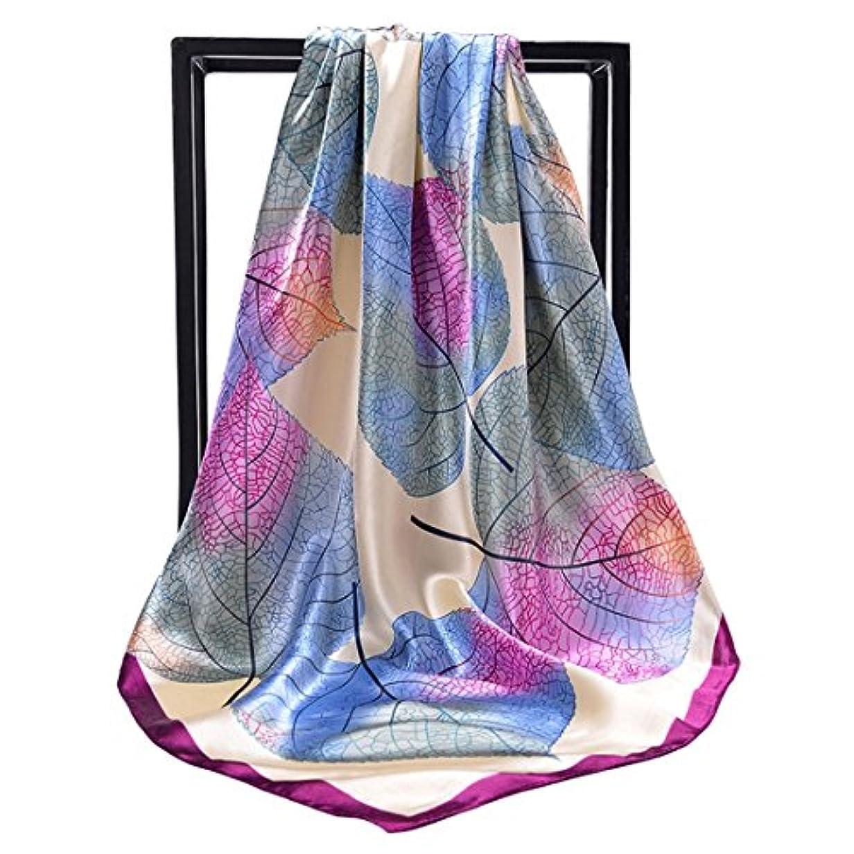 徹底避けられないちらつきCATYAA 女の子のためのプリントシルクスカーフショールスカーフ小さなスクエアスカーフヒジャーブスカーフ (Color : Good-looking purple, サイズ : 90X90cm)