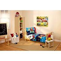 3 Piece KidsブルーレッドTrucks幼児用ベッドセット寝具、イエローティールTruck Tractor掛け布団レンチツールセット歯車Carsストライプパターンシートフィットシーツベッドルーム子供ベッド子、ポリエステル