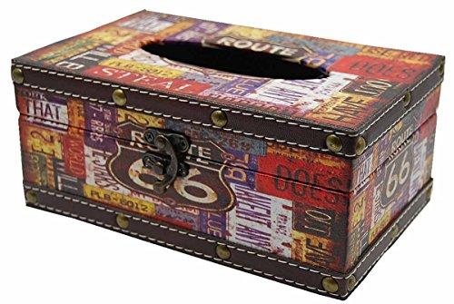 RoomClip商品情報 - アンティーク 風 木製 ティッシュケース ティシュボックス レトロ インテリア ティシュカバー (1: ルート66)