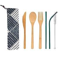 Blulux 携帯用木製食器セット、竹製ナイフ フォーク スプーン、ストロー ブラシ 収納袋 6点セット (緑ストロー)