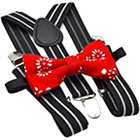 Baoblaze Kid Boy Adjustable Y-Back Suspender With Bow-Tie Set Clip-on Suits Braces