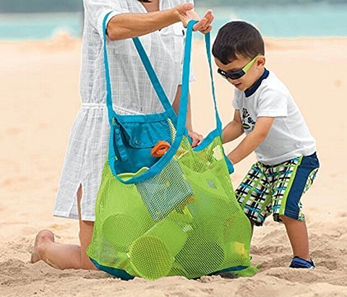 UTOKY 大容量 砂遊び ビーチメッシュバッグ トートキャリー (おもちゃなど 収納)
