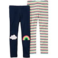 Carter's Girls' 2T-8 2-Pack Rainbow and Striped Leggings
