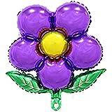 uxcell ホイル 花デザイン 風船 結婚式 記念日 お祝い 装飾品 セルフ密封 フクシャー 45.7cm