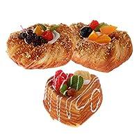 ディスプレイ 模型 パン模型 食品サンプル インテリア 本物そっくり 装飾 飾り PU 製 3個