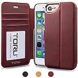 iPhone7 ケース TORU [Klasse][赤] アイフォン7用 手帳型 [カードホルダー][RFID保護][スタンド][プレミアム本皮][メタリックエッジ]フリップカバ― [iPhone 6s/6にもフィット](バーガンディー)