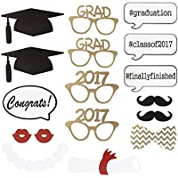 Tinksky フォト プロップス 飾り 面白い 卒業 パティー 卒業式写真小道具 ひげ コスチューム スティック セット 17個入り