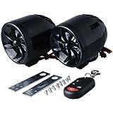 EnergyPrice(エナジープライス) バイク用 ミニスピーカーセット ブラック アンプ内蔵式オーディオキット 振動感知タイプ セキュリティアラーム付き 1セット
