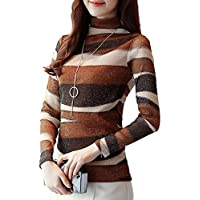 SansoiSan Women's Casual Long Sleeve Knit Tunic Blouse T-Shirt Fashion Tops Color Block