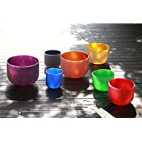 Sound Healing Chakra Tuned Colored set of 7 Frosted Quartz Crystal Singing Bowl 6