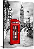 ロンドン赤電話ボックスキャンバス壁アート画像印刷 A0 91x61cm (36x24in) 0615517255579