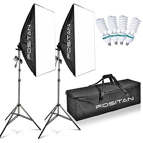 FOSITAN 写真照明用セット ソフトボックス 50x70 cm 1600W 写真スタジオソフトボックス 照明キット 2Mライトスタンド 【E27 純白CFL電球×4】 キャリングバッグ付き