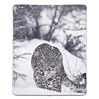 マウスパッド 抗菌 疲労低減 ユキヒョウ冬の雪の動物 レーザー&光学式マウス対応パッド