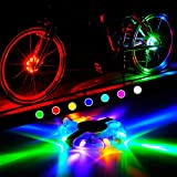 WAYNEWON Rechargeable Bike Wheel Hub Lights, Waterproof LED Cycling Lights, Colorful Bicycle Spoke Lights for Safety Riding Warning and Decoration [1 Pack for 1 Tire]