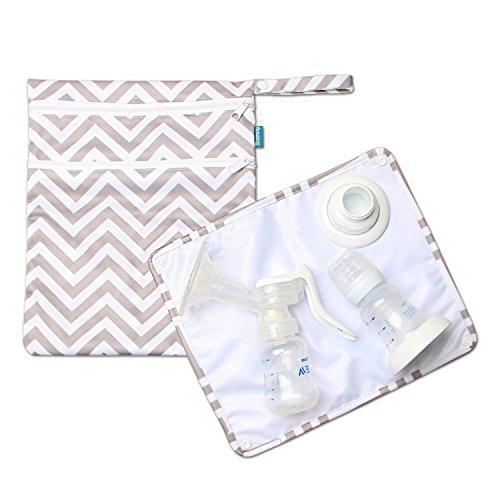 Teamoy ウェットバッグ 防水バッグ パット付き さく乳器 母乳パック 母乳ボトル 保管 移動 便利 グレー波