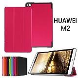 Asng Docomo dtab Compact d-02H ケース Huawei MediaPad M2 8.0 ケース スタンド機能付き 折り畳み 横開き 軽量型 (Rose red)