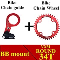 Propenary - Bicycle Crank & Chainwheel 104BCD 32T/34T/36T/38T Round Narrow Wide Chainring Bike Chain guide protector Bicycle Parts [ BB Red 34T ]