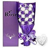 YOBANSA ソープフラワー 枯れない 花 ギフト 花束 ボックス バラ 石鹸 フラワー お祝い 誕生日 記念日 女性 先生の日 バレンタインデー 昇進など プレゼント (紫と白)