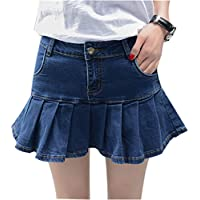Yeokou Women's Slim A-line Pleated Ruffle Short Mini Denim Skirts
