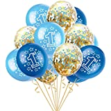 Eldori 15点セット 12  バルーン 結婚式 バレンタイン 飾り 誕生日 パーティー 飾り付け 吹雪入れ風船 セット おしゃれ ピンクゴールド フォトプロップス プロポーズ 記念日 お祝い 告白 バレンタイン応援 サプライズ 装飾 安い 飾りセット 吹雪入れ風船 Foil Latex Confetti Balloon Baby One Year Old Happy Birthday Party (C)