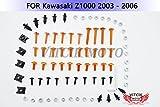 VITCIK カワサキ Kawasaki Z1000 2003 2004 2005 2006 03 04 05 06 オートバイ用フルフェアリングボルトネジキット ファスナー CNC アルミクリップ (オレンジ色 & シルバー)