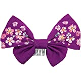 (キョウエツ) KYOETSU成人式 卒業式 リボン 髪飾り ちりめん 刺繍 (紫)