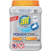 All POWERCORE Super Concentrated Laundry Detergent Pacs Tub, Oxi, 50 Count by all