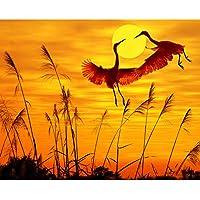 数字の壁の装飾によるZDDYX絵画サンセットクレーン恋人動物DIYデジタル絵画によるデジタル現代の壁アートキャンバス絵画ユニークなギフトルーム装飾cm 40X50Cmとフレーム