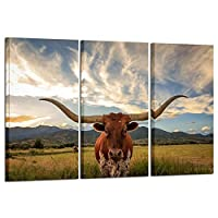 Kreative Arts - Large Modern Canvas Wall Art for Home and Office Decoration Animal Pictures Print Art on Canvas Texas Longhorn Canvas Prints Giclee Artwork for Wall [並行輸入品]
