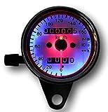 Richair バイク スピードメーター レトロ LEDバックライト 12V 機械式 汎用 小型 走行距離表示 ニュートラル ヘッドライト ウインカーランプ